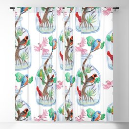 Birds in a Bottle Watercolor Painting Blackout Curtain