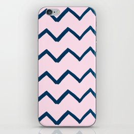 Geometric baby pink navy blue watercolor chevron iPhone Skin