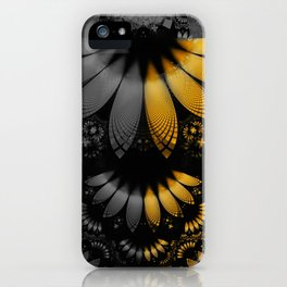 Flared Golden Yellow Feathers amid Black Onyx iPhone Case