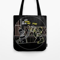 homer Tote Bags featuring Bender & Homer Neon Toast by MaNia Creations