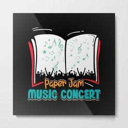 Paper jam Music Condert books reading design Metal Print