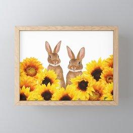 Two Rabbits Sunflower field Framed Mini Art Print