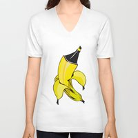 banana V-neck T-shirts featuring Banana  by Gaby Yerden