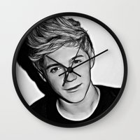 niall horan Wall Clocks featuring Niall Horan  by D77 The DigArtisT
