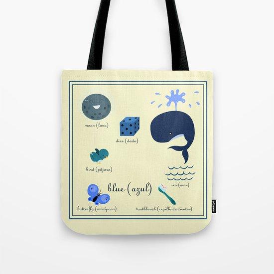 Colors: blue (Los colores: azul) Tote Bag