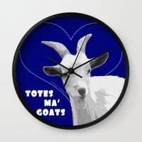 totes Wall Clocks featuring Totes Ma Goats - Blue by BACK to THE ROOTS