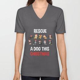 Dog Adoption Rescue Christmas Unisex V-Neck