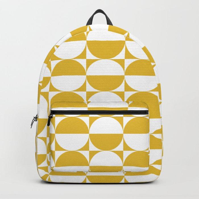Mid Century Modern Half Circles Pattern Mustard Yellow Rucksack