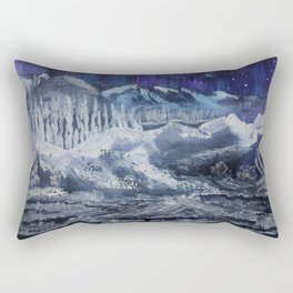 Mountain valley Auroras Rectangular Pillow