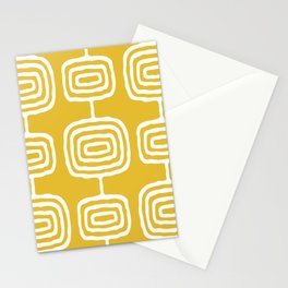 Mid Century Modern Atomic Rings Pattern 771 Mustard Yellow Stationery Cards