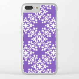 Vintage Brocade Damask Purple Clear iPhone Case