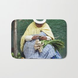 Vegetable and Fruit vendor, Cuenca, Ecuador Bath Mat