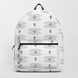 Pastel gray white abstract geometrical tribal pattern Backpack