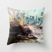 novelty Throw Pillows featuring Morning Seashore Abstract by Moody Muse