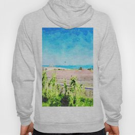 Travel by train from Teramo to Rome: landscape with sea from train window Hoody