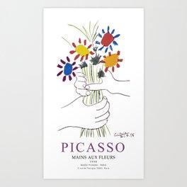 Picasso Exhibition - Mains Aus Fleurs (Hands with Flowers) 1958 Artwork Art Print