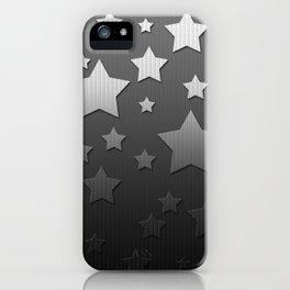 Black and White Herringbone Embossed Stars iPhone Case