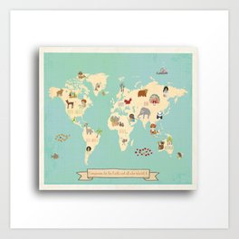 Global Compassion World Map Wall Art on Gallery Wrapped Canvas For Children Art Print