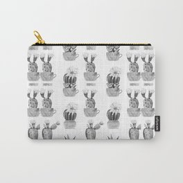 Potted Cactus Black and White Carry-All Pouch