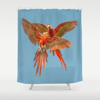fight Shower Curtains featuring INFLIGHT FIGHT by Catspaws