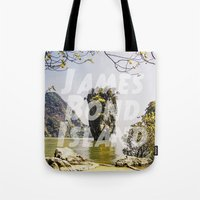 james bond Tote Bags featuring James Bond Island (vintage) by Armine Nersisian