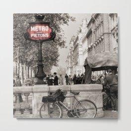 Paris Art Nouveau Pietons Metro - Metropolitan Subway Station Sign black and white photograph Metal Print