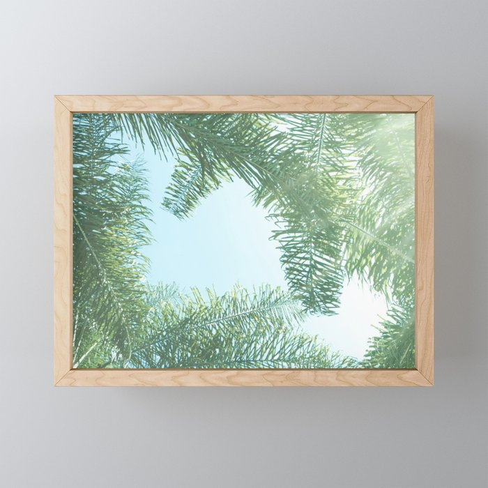 Nature photography tropical vibe vintage palm leaf II Framed Mini Art Print