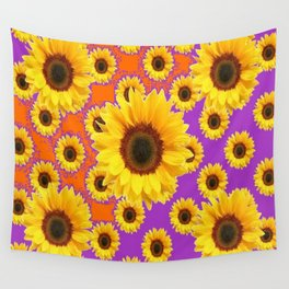 Sunflower Patterns on Orange & Purple Color Wall Tapestry
