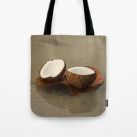 coconut wishes Tote Bags featuring Coconut by cinema4design
