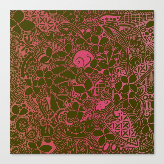 Olive square, pink floral doodle, zentangle inspired art Canvas Print