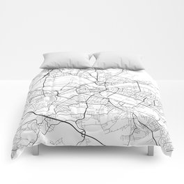 Dresden Map, Germany - Black and White Comforters