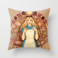 Throw Pillows featuring Curious and Curiouser by Megan Lara