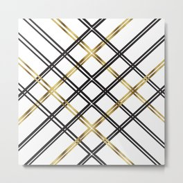 Crosshatch in Gold Metal Print