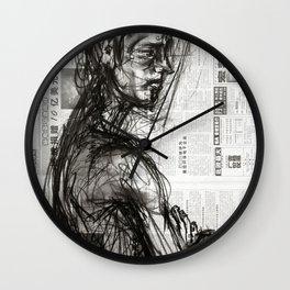 Waiting - Charcoal on Newspaper Figure Drawing Wall Clock