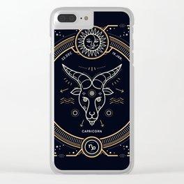 Capricorn Zodiac Gold White on Black Background Clear iPhone Case