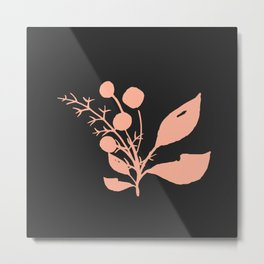 Pink Minimal Wildflowers On Charcoal Metal Print