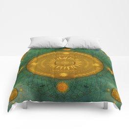 """""""Celestial Teal - Gold Ocher Mandala"""" Comforters"""
