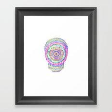 divisionism skull mandala Framed Art Print