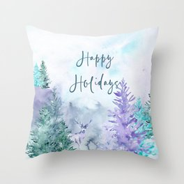 Watercolor Happy Holidays Winter Wonderland Throw Pillow