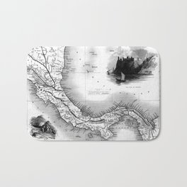 Vintage Map of Panama (1851) BW Bath Mat