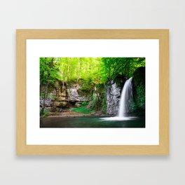 Geissen waterfall at Zeglingen, Switzerland Framed Art Print
