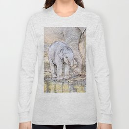 Sketchy Baby Elephant Long Sleeve T-shirt