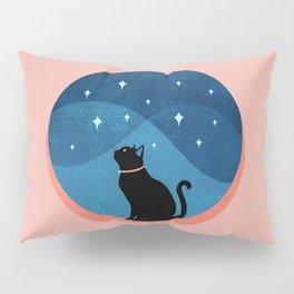 Abstraction_CAT_NIGHT_SKY_STARS_Minimalism_001 Pillow Sham