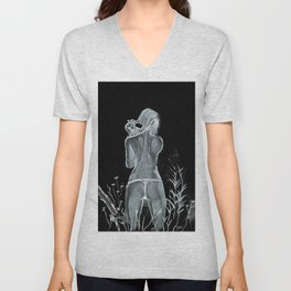 Woman Combing Her Hair Unisex V-Neck