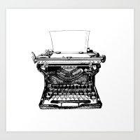 typewriter Art Prints featuring Typewriter by Rachel Walsh