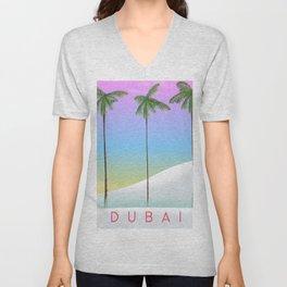Dubai desert and palms travel poster Unisex V-Neck