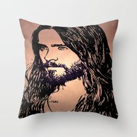 jared leto Throw Pillows featuring Vector Jared Leto by Emma Porter