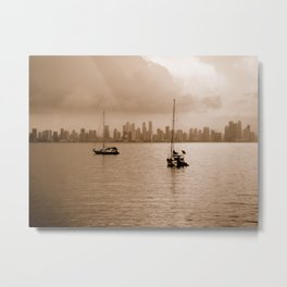 Two sailboats (Sepia) Metal Print