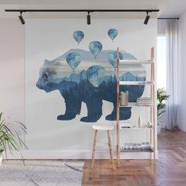 Misty Forest Bear - Hot Air Balloons Wall Mural