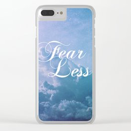 Fearless in a beautiful cloudy sky Clear iPhone Case